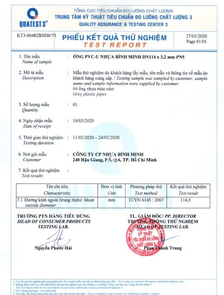 Bang Test Chat Luong Ong Nhua Pvc Binh Minh Phi 114x3.2