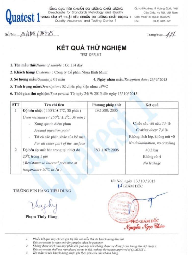 Bang Test Chung Nhan Chat Luong Co Pvc Binh Minh 90 Do