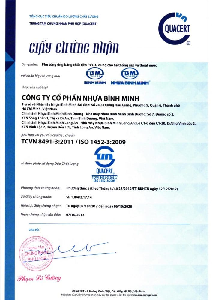 Giay Chung Nhan Hop Chuan Hop Quy Co Pvc Binh Minh 90 Do